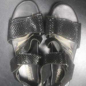 Black Faux Snakeskin Munro American Sandals